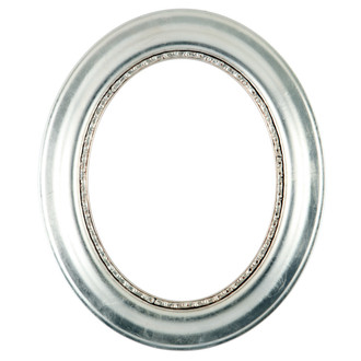 Chicago Oval Frame #456 - Silver Leaf with Brown Antique