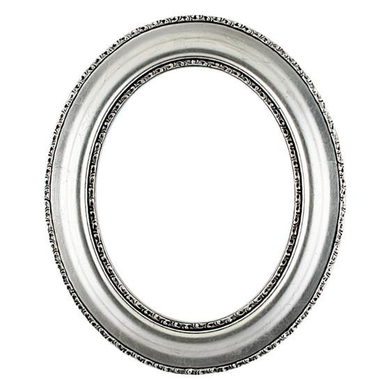 Somerset Oval Frame # 452 - Silver Leaf with Black Antique
