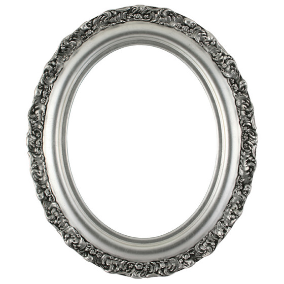 Oval Frame In Silver Leaf Finish With Black Antique Antique Silver Picture Frames With Ornate