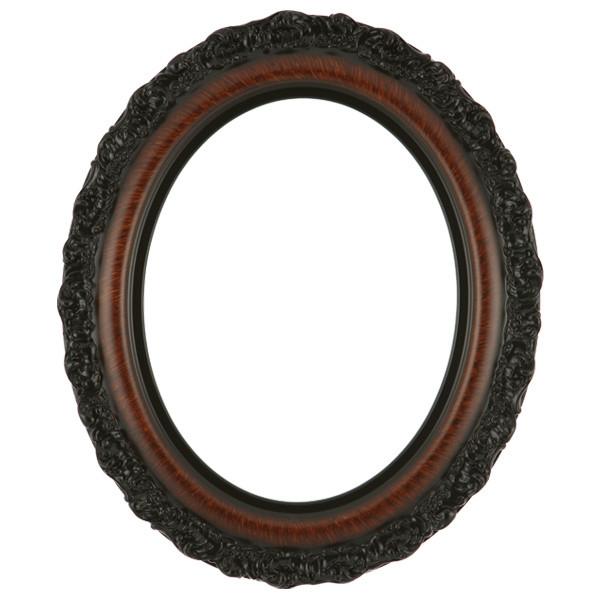 Oval Frame In Vintage Walnut Finish Antique Stripping On