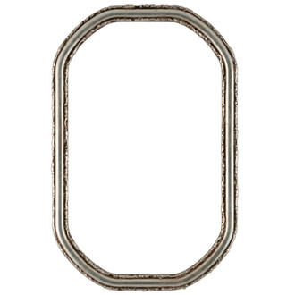 Virginia Octagon Frame #553 - Silver Leaf with Brown Antique