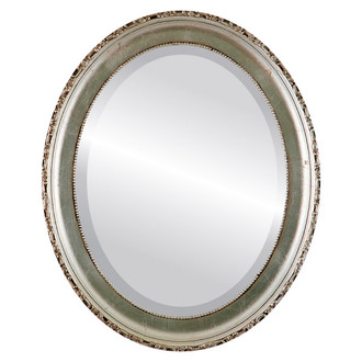 Kensington Beveled Oval Mirror Frame in Silver Leaf with Brown Antique