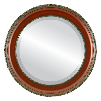 Kensington Beveled Round Mirror Frame in Rosewood