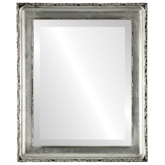 Kensington Beveled Rectangle Mirror Frame in Silver Leaf with Black Antique