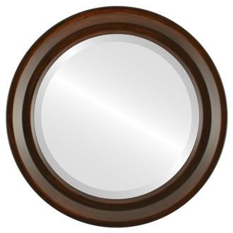 Newport Beveled Round Mirror Frame in Mocha