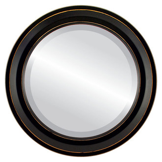 Newport Beveled Round Mirror Frame in Rubbed Black