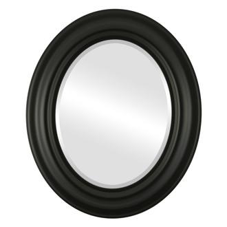 Lancaster Beveled Oval Mirror Frame in Matte Black