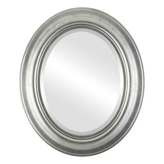 Lancaster Beveled Oval Mirror Frame in Silver Leaf with Black Antique