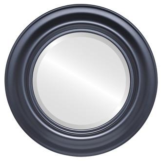 Lancaster Beveled Round Mirror Frame in Matte Black