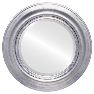 Round Framed Mirror #450 Lancaster Silver Leaf with Black Antique Finish
