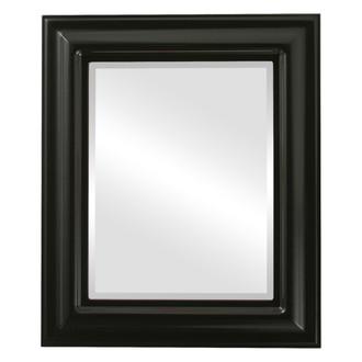 Lancaster Beveled Rectangle Mirror Frame in Gloss Black
