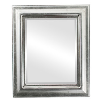 Lancaster Beveled Rectangle Mirror Frame in Silver Leaf with Black Antique