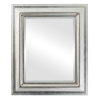 Lancaster Beveled Rectangle Mirror Frame in Silver Leaf with Brown Antique