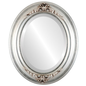 Winchester Beveled Oval Mirror Frame in Silver Leaf with Brown Antique
