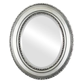 Somerset Beveled Oval Mirror Frame in Silver Leaf with Black Antique