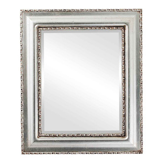 Somerset Beveled Rectangle Mirror Frame in Silver Leaf with Brown Antique