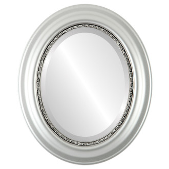 Chicago Beveled Oval Mirror Frame in Silver Leaf with Brown Antique