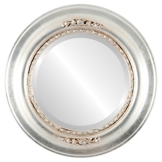Boston Beveled Round Mirror Frame in Silver Leaf with Brown Antique