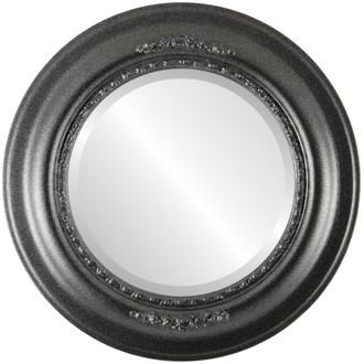 Boston Beveled Round Mirror Frame in Black Silver