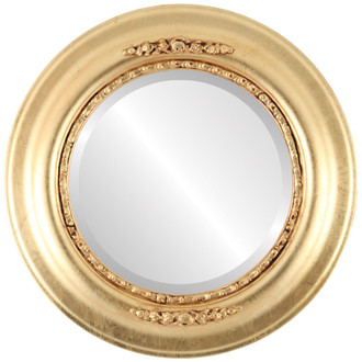 Boston Beveled Round Mirror Frame in Gold Leaf