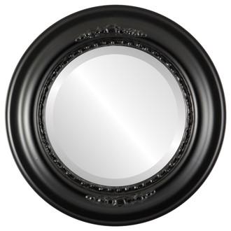 Boston Beveled Round Mirror Frame in Matte Black