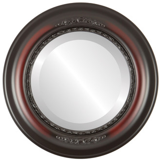 Boston Beveled Round Mirror Frame in Rosewood