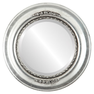 Boston Beveled Round Mirror Frame in Silver Leaf with Black Antique