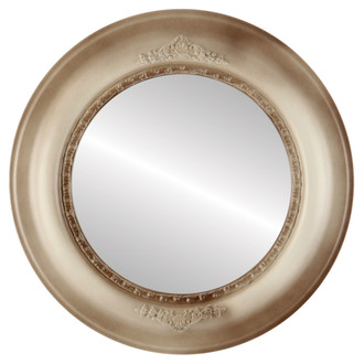 Boston Beveled Round Mirror Frame in Taupe