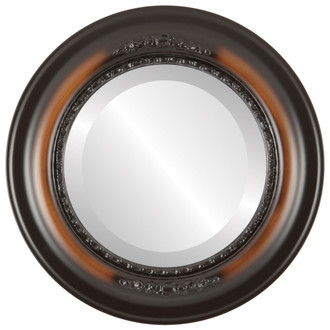 Boston Beveled Round Mirror Frame in Walnut