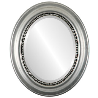 Heritage Beveled Oval Mirror Frame in Silver Leaf with Black Antique