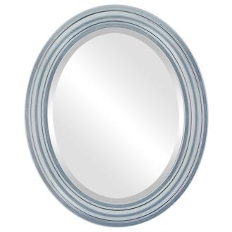 Philadelphia Beveled Oval Mirror Frame in Silver Leaf with Black Antique