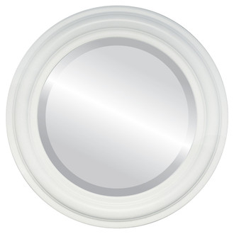 Philadelphia Beveled Round Mirror Frame in Linen White