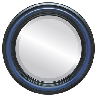 Philadelphia Beveled Round Mirror Frame in Royal Blue