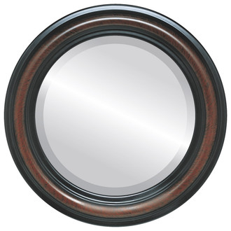 Philadelphia Beveled Round Mirror Frame in Vintage Cherry