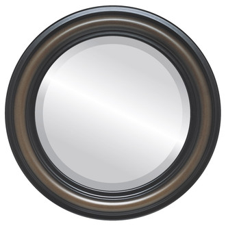 Philadelphia Beveled Round Mirror Frame in Walnut