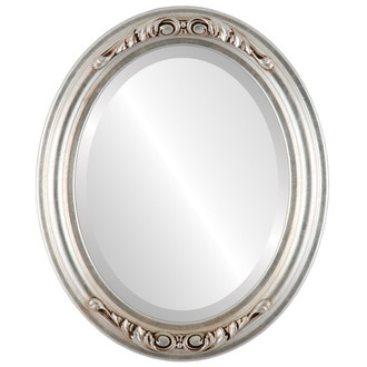 Florence Beveled Oval Mirror Frame in Silver Leaf with Brown Antique