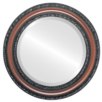 Dorset Beveled Round Mirror Frame in Rosewood