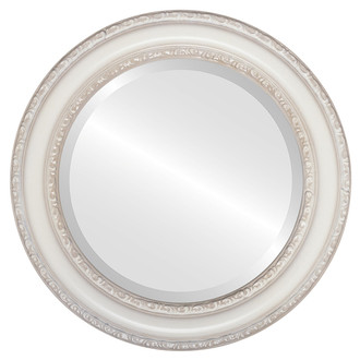 Dorset Beveled Round Mirror Frame in Taupe