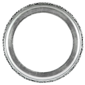 Kensington Round Frame # 401 - Silver Leaf with Black Antique