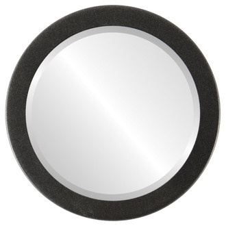 Vienna Beveled Round Mirror Frame in Black Silver
