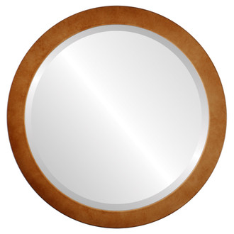 Vienna Beveled Round Mirror Frame in Burnished Gold