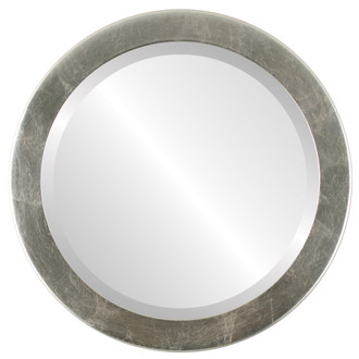 Vienna Beveled Round Mirror Frame in Silver Leaf with Brown Antique