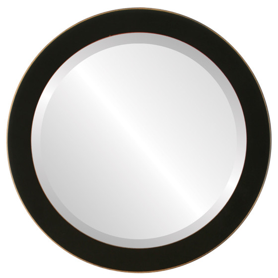 Vienna Beveled Round Mirror Frame in Rubbed Black