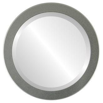 Vienna Beveled Round Mirror Frame in Bright Silver