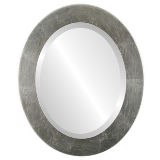 Cafe Beveled Oval Mirror Frame in Silver Leaf with Brown Antique