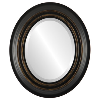 Imperial Beveled Oval Mirror Frame in Matte Black with Gold Lip
