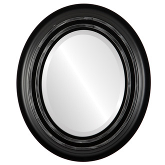 Imperial Beveled Oval Mirror Frame in Matte Black with Silver Lip