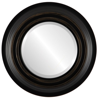 Imperial Beveled Round Mirror Frame in Matte Black with Gold Lip