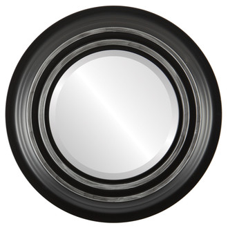 Imperial Beveled Round Mirror Frame in Matte Black with Silver Lip