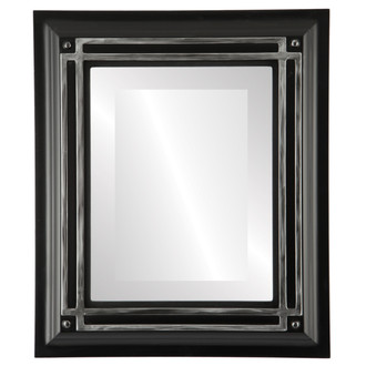 Imperial Beveled Rectangle Mirror Frame in Matte Black with Silver Lip